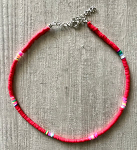 Pink Beaded Choker Necklace