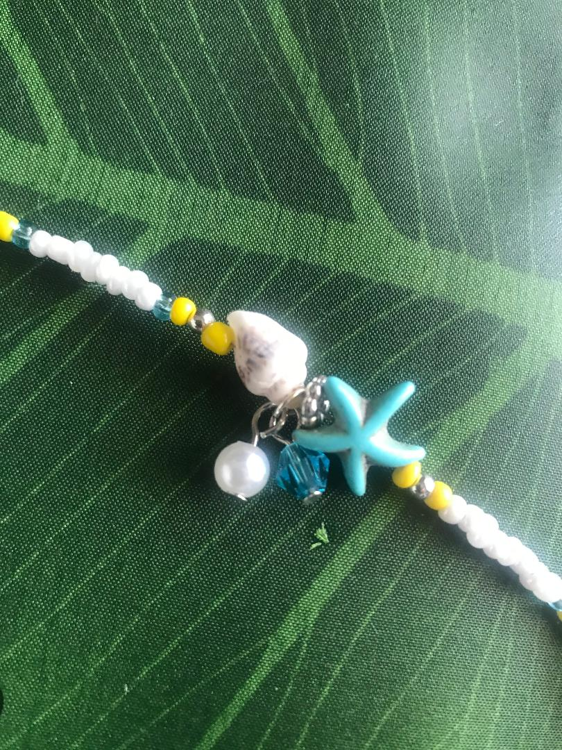 Starfish Shell and Pearl Single bead strand Anklet