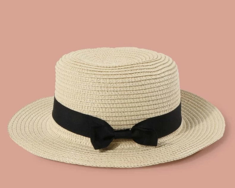 Ladies Size Small Straw Hat with Black Bow
