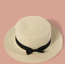 Load image into Gallery viewer, Ladies Size Small Straw Hat with Black Bow