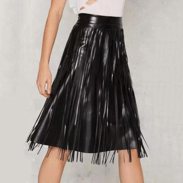 Cool Leather Plain Fringe Skirt
