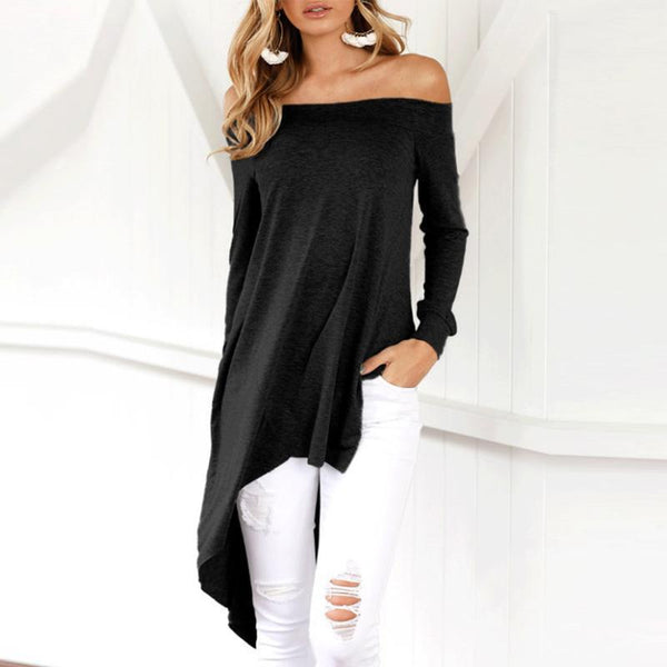 Sexy Off-The-Shoulder Collar With Irregular Hem T-Shirts