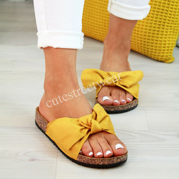 2020Sandals Bow Slip On Gladiator Sandals Women Summer Footwear Flat Sandals