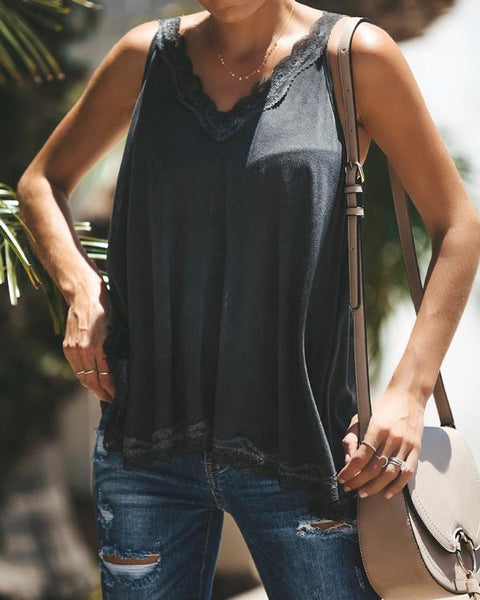 Women Casual  V Neck Paneled Spaghetti Solid Sexy Camis Tops