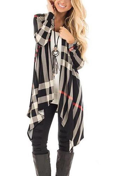 Asymmetric Hem  Colouring  Long Sleeve Cardigan