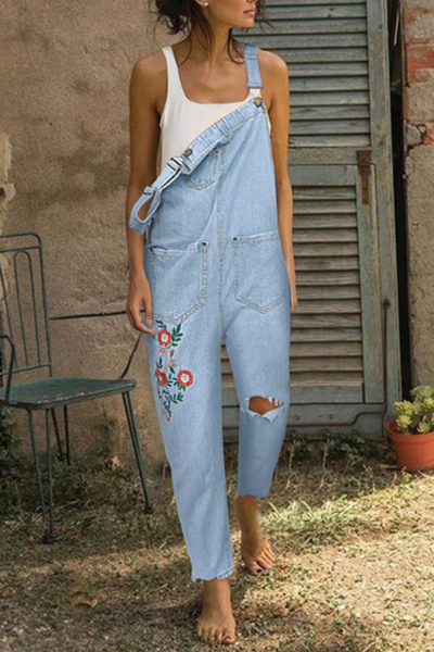 Simple Loose Embroidered Denim Overalls