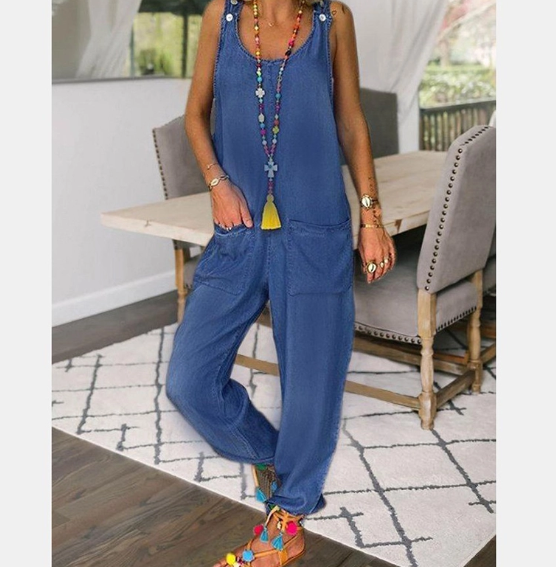 Casual Sleeveless Pure Colour Jumpsuits