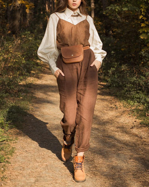 V-Neck Sling Trousers Linen Two-Piece Suit