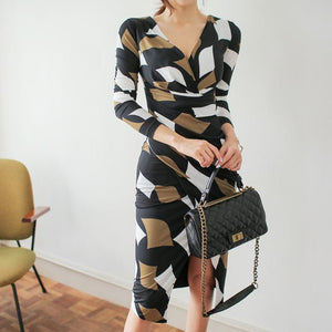 Casual V Neck Slim Slit Printed Colour Long Sleeve Bodycon Dresses