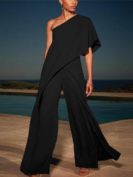 Sexy Single Shoulder Pure Color High-Waisted Wide-Legged Jumpsuit