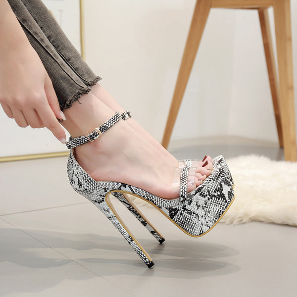 Large size women's Shoes Sexy snake pattern one word belt super high heels women's sandals