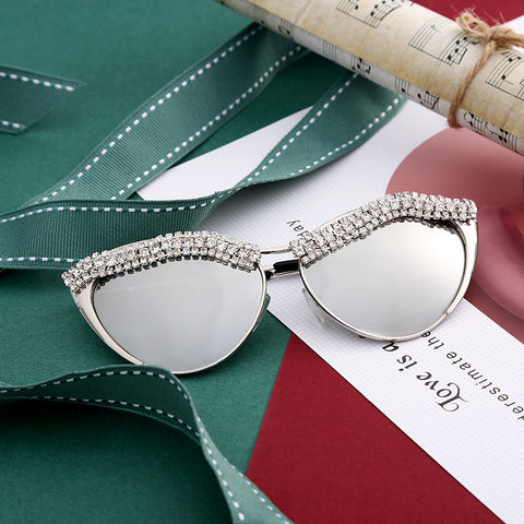 New cross-border retro cat eye small box small box fashion crystal sunglasses