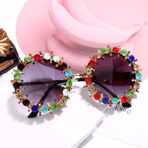 Newbaroque diamond-encrusteds colorful fashion charm gorgeous diamond sunglasses