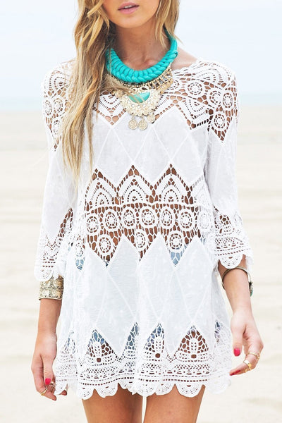 White Hollow Out Crochet Tunic Cover Up