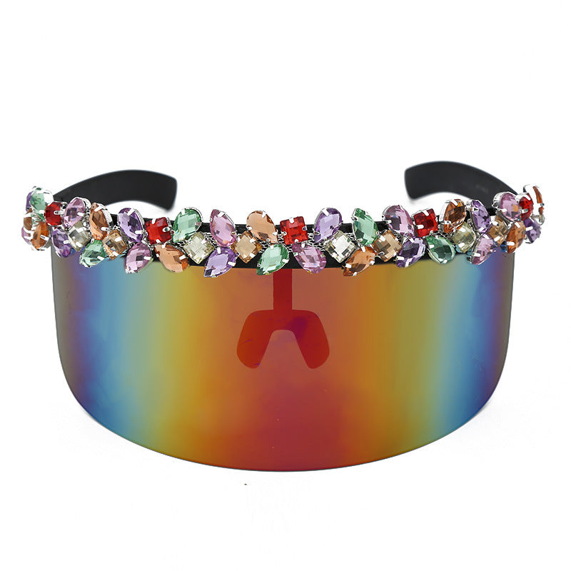 Popular luxury colorful water diamondscross-border diamond integrated large frame glasses