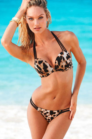 LEOPARD STRAPPY UNDERWIRE PUSH UP HALTER BIKINI - TWO PIECE SWIMSUIT