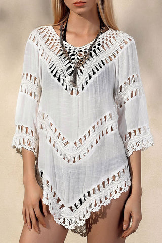 Boho Elbow Sleeve Hollow Out Crochet Tunic Cover Up