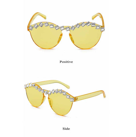 Thick piece without frame water drill sunglasses candy color integrated metal hinge cat's eye