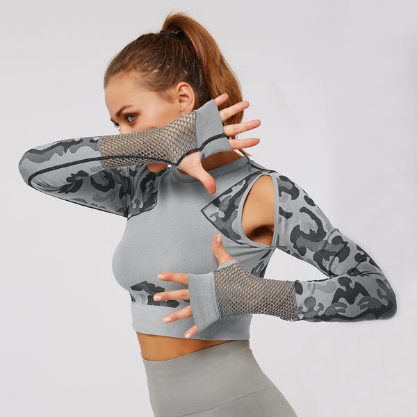 Camouflage Yoga Top Seamless Tight Long-SleeveD Gym Wear Girl Yoga Wear Top