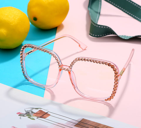 Cross-border new large square box transparent diamond  personality unique fashion drill glasses
