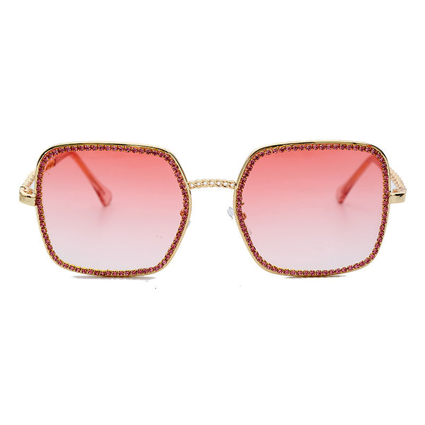 New Square Large Frame Chain Diamond Sunglasses