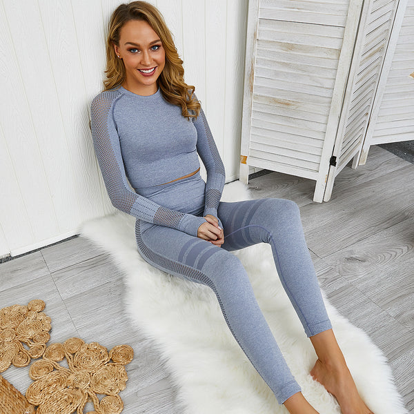 Knitted Seamless Yoga Suit Long Sleeve Top Tight Sports hHgh Waist Fitness Suit