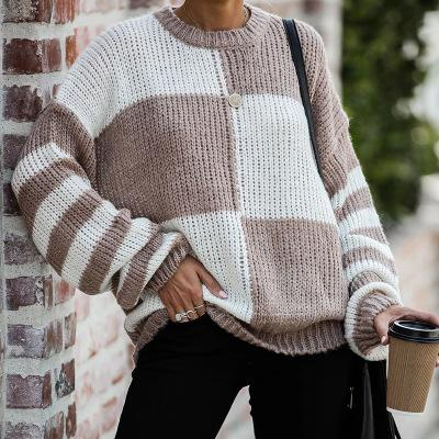 LOOSE CASUAL LONG SLEEVE PLAID PULLOVER SWEATER