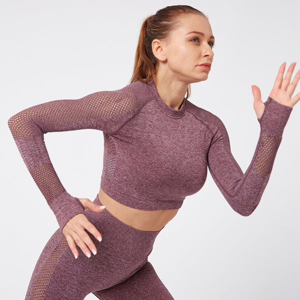 Hollow Mesh Hole Sexy Belly Button Female Tight Fast-drying Sports Long-sleeved T-shirt