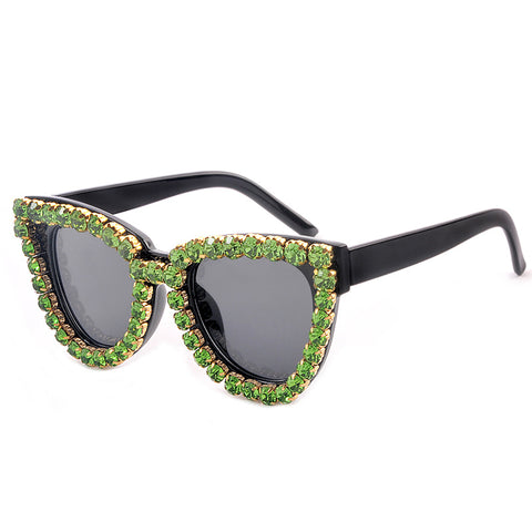 Cat Eye Big Water Drill Sunglasses Personality Trend Retro Diamond Sunglasses