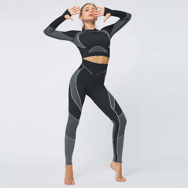 Sports Fitness top women's Long Sleeve Line Love Seamless Hip Tight Yoga Suit