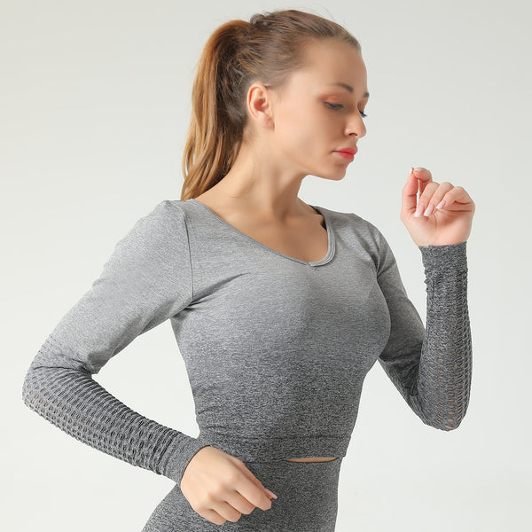 Seamless Yoga suit long sleeve T-shirt women's knitting, hanging, dyeing, hollowing and gradual elastic fitness suit