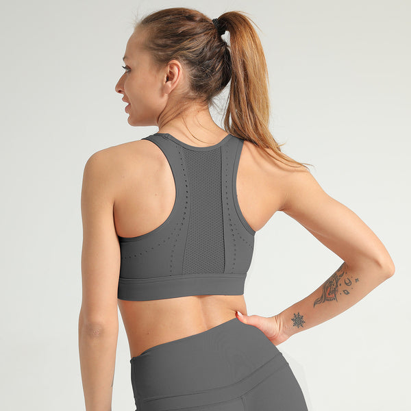Dot Sports Bra Shockproof Mesh  Stitching Sports Bra