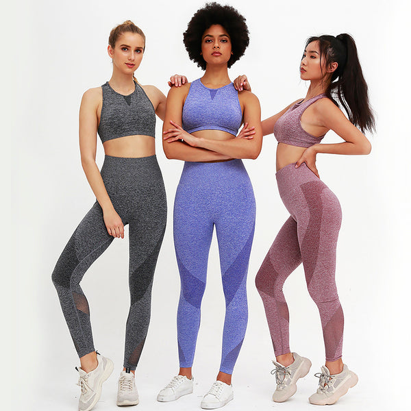 Spring 2020 New Knitted Seamless Mesh Splicing Yoga Fitness Suit Yoga Suit