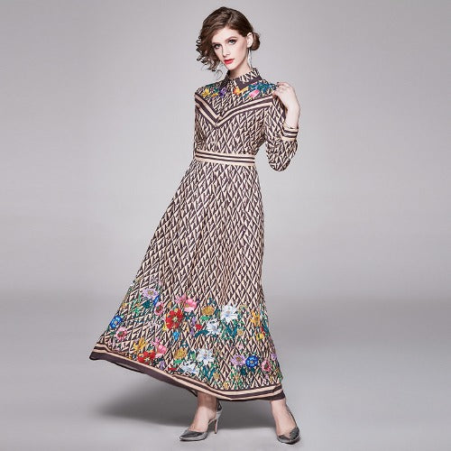 2020 new fashion lapel long-sleeved positioning printing dress skirt