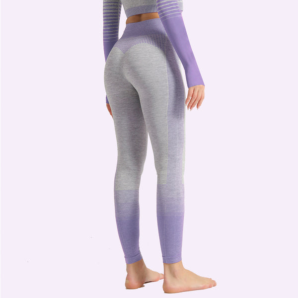 Striped Quick Drying Knitting High Elastic Tight Sports Hip Lifting Yoga Pants