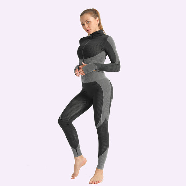 Jacquard Seamless Yoga Suit Women's Knitting Hip Lifting Elastic Fitness Suit