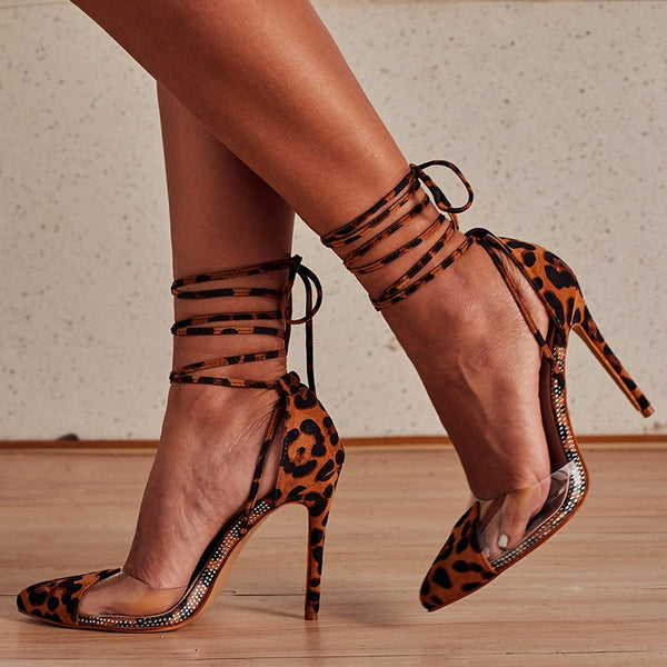 New Top Foot Ring with Roman Sandals Fine High heel Leopard Style Sexy Shallow Single Shoe
