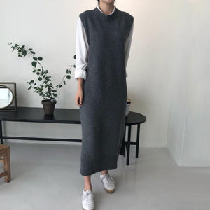 Fashion  Pure Color Long Knitted Vest Maxi Dress