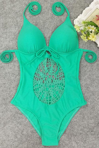 E&C Light Green Halter Deep V Neck Crochet Center Piece Strappy Sexy One Piece Swimsuit