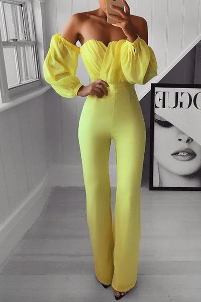 Sexy Off-Shoulder Pure Colour Bishop Sleeve  Jumpsuit