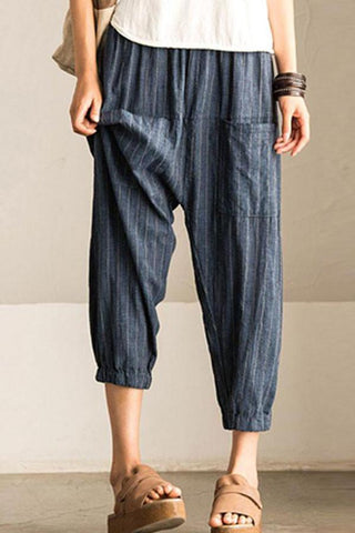 Casual Striped Leisure Loose Harem Pants