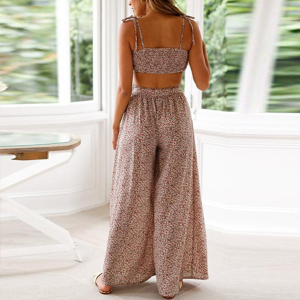 Sexy Printing High Waist Sling Two Piece Suit