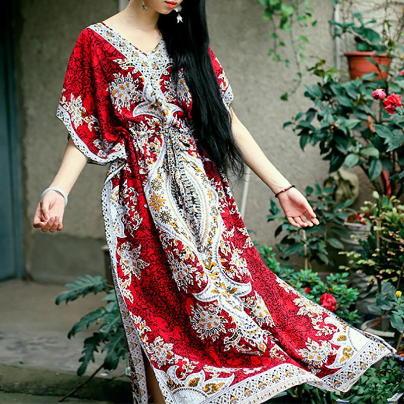 Vintage V Neck Batwing Sleeve Belted Printed Colour Dress