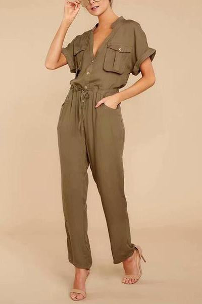 Commuting Pure Colour Belted Patch Pocket Short Sleeve Jumpsuit