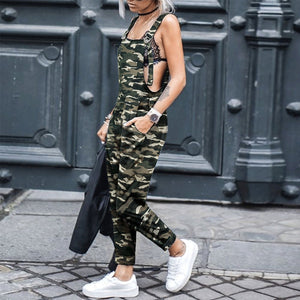 Casual Camouflage Slim Fit Overall Jumpsuit