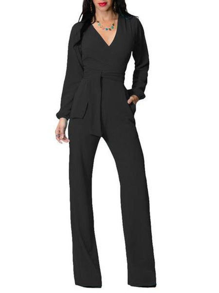Fashion Trim Body With Long Sleeve Solid Color V Neck Jumpsuits