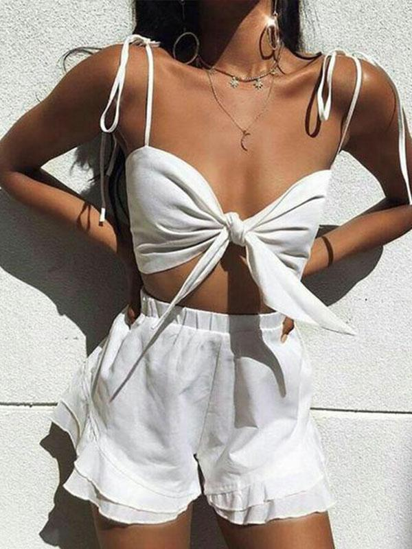 Sling Knotted Ruffled Sexy Playful Suit