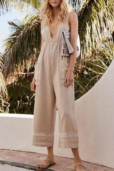 Elastic Waist Fringe Patch Pocket  Plain Jumpsuit