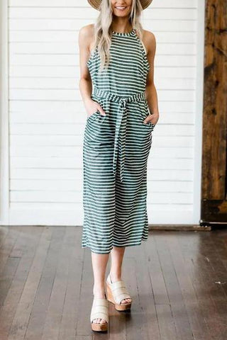 Casual Sleeveless Round Neck Stripe Splicing Jumpsuit