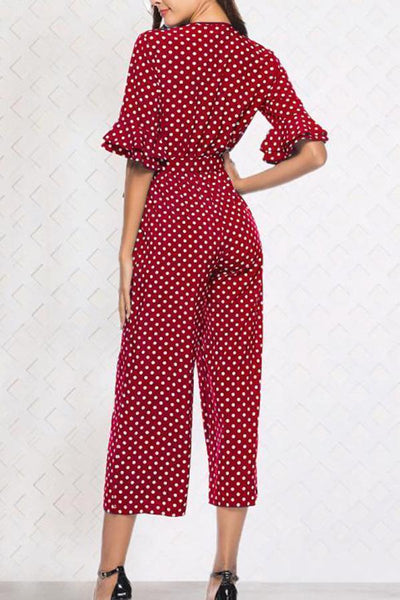 Fashion Short Sleeves V-Neck Casual Jumpsuit